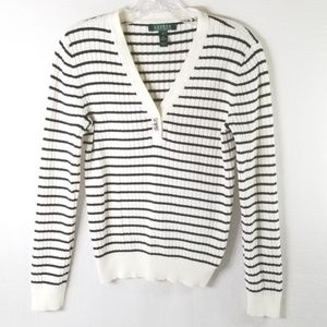 Lauren Ralph Lauren M White V-Neck Striped Sweater